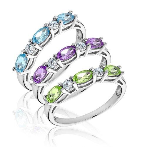 Multi Gemstone Three Stackable Ring Set - Size 7