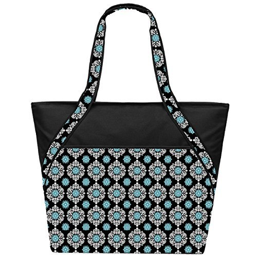 super-sachi-hot-cold-50-can-insulated-cooler-picnic-lunch-bags-medallion-black-by-sachi