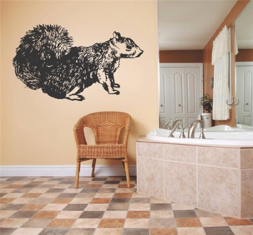 Decal - Vinyl Wall Sticker : Squirrel Rodent Animal Daycare Playroom Boy Girl Living Room Bedroom Kitchen Home Decor Picture Art Image Peel & Stick Graphic Mural Design Decoration - Discounted Sale Price - Size : 21 Inches X 30 Inches - 22 Colors Available