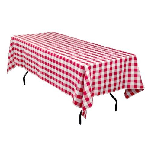 Linentablecloth 60 X 102-Inch Rectangular Tablecloth Red & White Checker front-96555