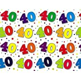 2 Sheets Special Age 40 Wrapping Paper & 1 Matching Gift Tag - 40th Birthday