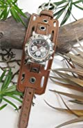 AZTEC AGED TOP GRAIN BROWN LEATHER 2 INCH WIDE WATCHBAND (watch is not included)