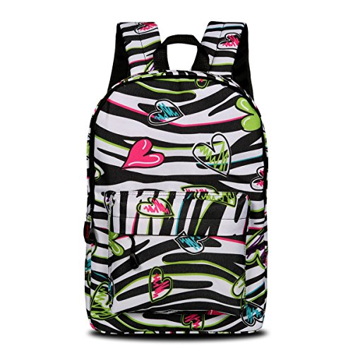 This gorgeous hearts and zebra print backpack certainly has a touch of the 80s about it - available in six designs