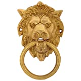 Mahalk Brass Lion Face Door Knocker (Antique Gold, 14 Cm X 8.4 Cm X 4 Cm)