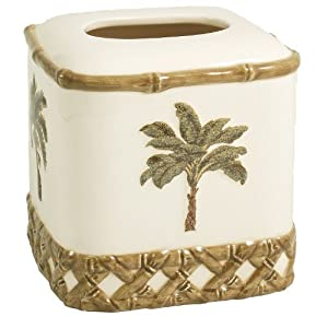 Tropical Bamboo and Palm Tree Tissue Box Holder