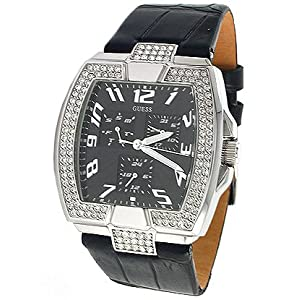 Guess U12519L1 Crystals Black Leather Strap Women'S ...