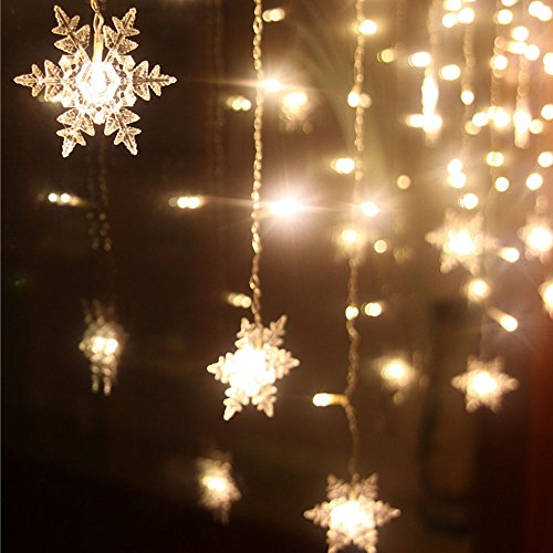 XGUO 3.5M 96 LED Luci Natalizie Catene Luminose led Spina di EU luci decorative per Festa, Giardino, Natale, Matrimonio - Bianco Caldo