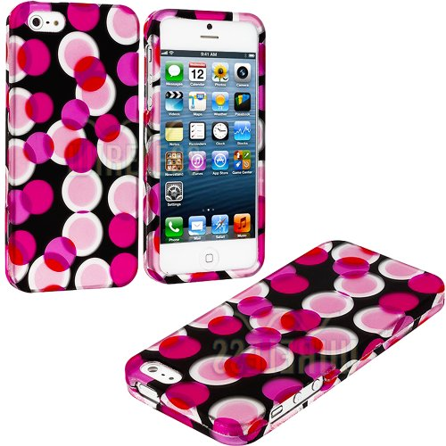 Mylife Hot Pink + Black Circle Overload Series (2 Piece Snap On) Hardshell Plates Case For The Iphone 5/5S (5G) 5Th Generation Touch Phone (Clip Fitted Front And Back Solid Cover Case + Rubberized Tough Armor Skin)