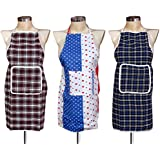 Yellow Weaves Waterproof Cotton Kitchen Multi Apron With Front Pocket - Set Of 3