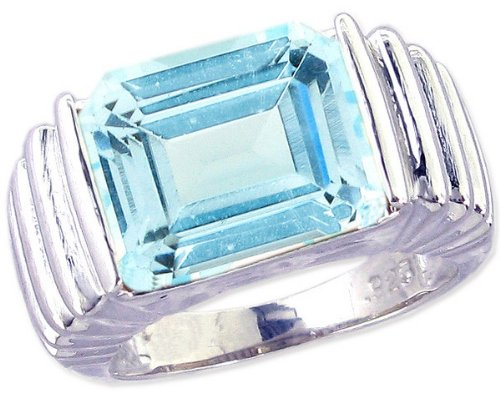 Ribbed Detail Sterling Silver Cocktail Ring with Large Octagon Genuine Gemstone-Sky Blue Topaz-in full,half,quarter sizes from 5 to 9_5