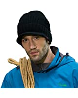 Home Prefer Men's Outdoor Newsboy Hat Winter Thick Beanie with Visor (3 Colors)