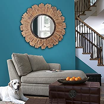 Howard Elliott 37075 Hawthorne Round Mirror, 35-Inch, Layered Natural Wood