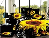 4piece Full/queen Black Skin Duvet Cover Set 3d Sunflower Pattern Quality Cotton, Round Corner Sheet & Shams-home Bedding Set (Queen)