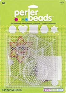 Perler Beads Small & Large Basic Clear Pegboards- 5 Count