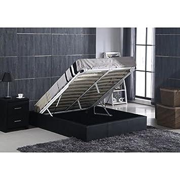 1 cama de adulto con caja de 160 x 200 cm, incluye somier, piel sintética, color negro