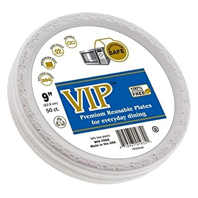 VIP Plates (TM) - 9 Inch Disposable Plastic Plates Microwave Safe Disposable Plates - Styrene Free and Completely Crack Resistant - Plastic Disposable Plates.