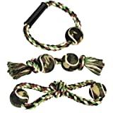 Camo Collection Tennis Ball Rope Toys for Dogs