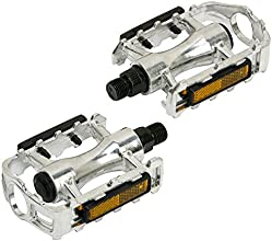 niceeshopTM 1 Pair2PcsFull Alloy Chrome General Bicycle Bike Pedals-Silver Plus Orange Sides