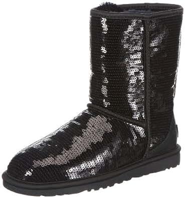 UGG Australia Women's Classic Short Sparkles Black Sheepskin Boot 5 M US