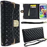 Ancerson® PU Leder Tasche Schutzhülle für Samsung Galaxy S5 SV I9600 Wallet Case Flip Case Ledertasche Etui Schutz Hülle Kartenfächer (Schwarz)