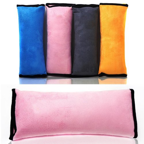 eKingstore Children Velvet Headrest Support Car Soft Safety Seatbelt Shoulder Pad Pillow for Kids Teenager (Pink) - 1