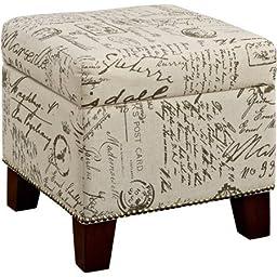 Dorel Living Blake Script Cube Ottoman, Storage