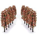 3.3 Inch Green Train Set Scenery Landscape Model Tree with Peach Flowers Scale 1/200 - 20PCS
