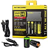 NITECORE i4 (New 2014 version) Intellicharge universal smart battery Charger For Li-ion / IMR / Ni-MH/ Ni-Cd 26650 22650 18650 18490 18350 17670 17500 17335 16340 RCR123 14500 10440 AA AAA AAAA C types with Ac and 12V DC (Car) power cords, 2 X EdisonBrigh