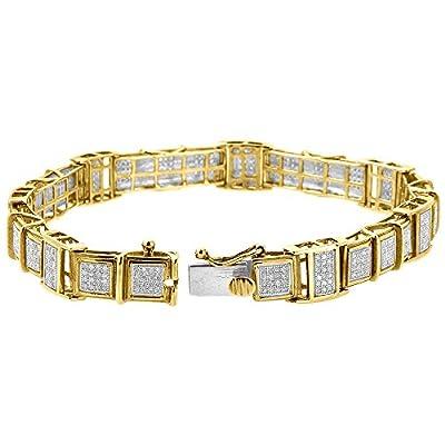 "10K Yellow Gold Round Cut Diamond Pave Link Bracelet 8"" 1.39 Cttw"