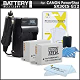 2 Pack Battery And Charger Kit For The Canon SX30IS SX30 IS Canon G12 Digital Camera Includes 2 Extended Replacement NB-7L (1500 mAH) Batterries + Ac/Dc Rapid Battery Charger + Clear LCD Screen Protectors + Lens Cleaning Kit