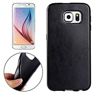 Crazy4Gadget Glossy PU Leather Paste TPU Cover Back Case for Samsung Galaxy S6 Edge / G925(Black)