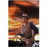 John Wayne The Duke 8 x 10 Photo on Horse Beautiful Sky Tan Hat Blue Shirt Brown Vest Kerchief kn