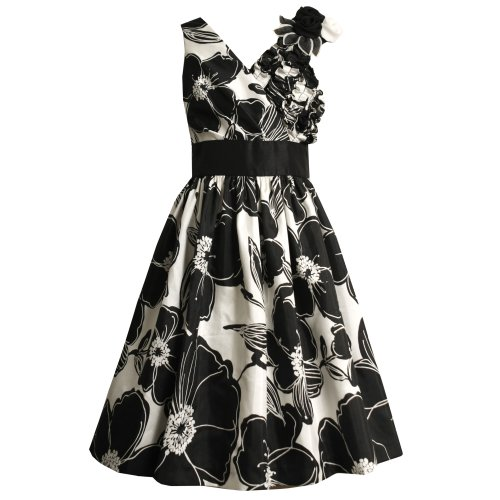Size-16 BNJ-0519-B BLACK WHITE PLEATED RUFFLE CROSSOVER BODICE FLORAL SHANTUNG Special Occasion Wedding Flower Girl Party Dress,B40519 Bonnie Jean 7-16