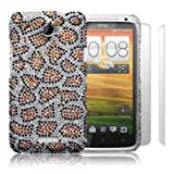 HTC One X Leopard Spots Diamante Case / Cover / Shell / Shield + 2-in-1 Screen Protector Pack Part Of The Qubits Accessories Rangeby Qubits