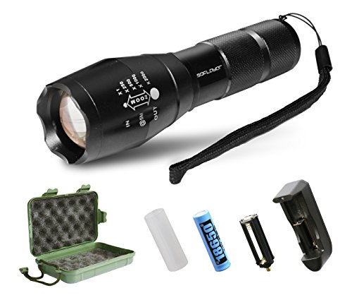 Brightest LED Tactical Flashlight,SDFLAYER T6 High Powered Handheld Torch with Rechargeable 18650 Lithium Ion Battery and Charger , 5 Modes Zoomable Adjustable Focus For Hiking, Camping, Emergency