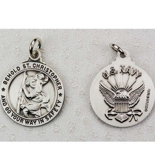 Sterling Silver Military Navy Saint Michael Patron Saint Medal Pendant Necklace