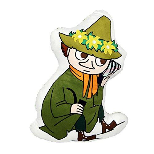 ムーミン ビッグ ダイカット クッション 可愛い キャラクター ふわふわ 起毛素材 インテリア としても使える 枕 女性 男性 (スナフキン×MOOMINコインケースセット)