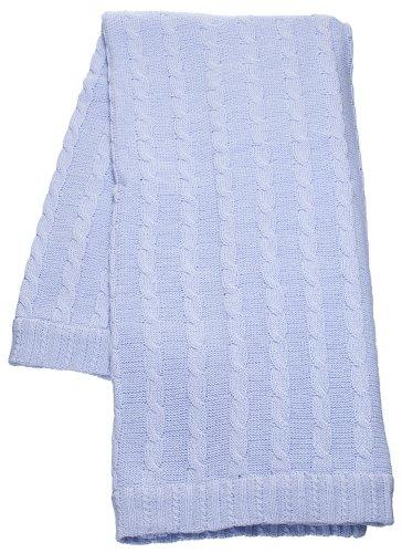 Bimbi Fine Cotton Cable Knit Baby Blanket - Sky Blue