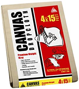 Trimaco Llc 51128 4-Feet by 15-Feet Premium 10-Ounce Canvas Drop Cloth