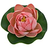 Veena Artificial Plastic Floating Pink Lotus with Rubber Leaf - Set of 3 (10 cms Diameter, Pink)