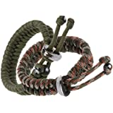 "The Friendly Swede Fish Tail Paracord Survival Bracelets with Metal Clasp, Adjustable Size Fits 7""-8.5"" (18-22 cm) Wrists (2 Pack)"