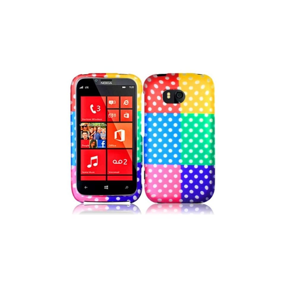 Colorful Polka Dots Hard Case Snap On Rubberized Cover For Nokia Lumia 822