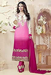 Splendid Shaded Pink and Off White Semi Stitched Material
