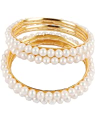 DD Pearls Round Freshwater White Color Pearls Bangles For Women
