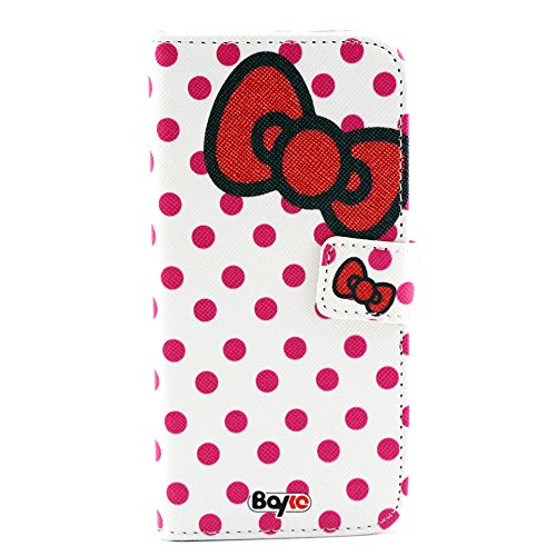 Bayke Brand / Iphone 6 Plus Case 5.5 Inch Beautiful Pu Leather Wallet Type Flip Case Cover With Credit Card Holder Slots For Apple Iphone 6 Pro 5.5 Inch Release On 2014 Case (Polka Dots Bow-Tie Pattern)