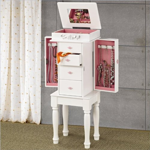 Coaster 900146 Traditional Jewelry Armoire, White front-917554
