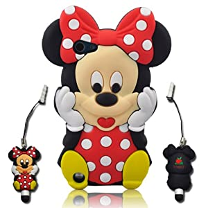 3D Cartoon Minnie Soft Silicone Skin case cover for IPod Touch 5/5G/5th generation + 3D Minnie STYLUS PEN with Anti Dust Plug