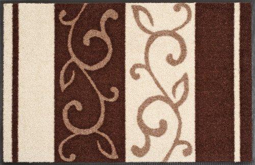 Wash + Dry Doormat Tendril Pattern Brown 50x75 cm multicoloured
