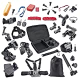 BAXIA TECHNOLOGY® GoPro Accessory Kit for GoPro HERO 4 Black GoPro HERO 4 Silver GoPro HERO 3+ GoPro HERO 3 GoPro HERO 2 and SJ4000 SJ5000 SJ6000 Sports Camera Accessory Kits Outdoor Sports Accessories Kit,Shockproof Carrying Case + Head Belt Strap Mount + Chest Belt Strap Mount + Helmet Strap Mount + Extendable Handle Monopod + Floating Handle Grip + Car Suction Cup Mount Holder + 360 Rotary Clip Mount + Wrist Strap Mount + Bike Tripod Mount + Bike Handlebar Holder Mount + Tripod Mount Adapter + Surface Quick Release Buckle + Surface J-Hook Buckle etc, 44-in-1 GoPro Accessories Bundle Kit for GoPro Camera Camcorder in GoPro Skiing Parachuting Swimming Rowing Surfing Climbing Running Bike Riding Camping Diving Outing and Any Other Outdoor Sports