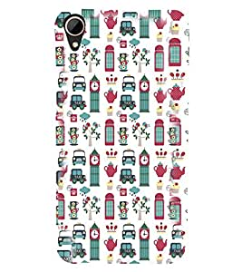Fuson Premium Taxi Tower Printed Hard Plastic Back Case Cover for HTC Desire 828